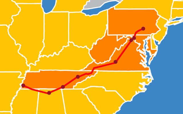 Valley Corridor of Norfolk Southern paralleling I-40, I-75, and I-81 from Memphis to Harrisburg.