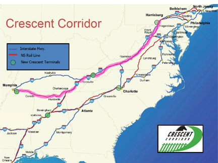 Cresent Corridor/Valley Route for Demonstration of the Steel Interstate